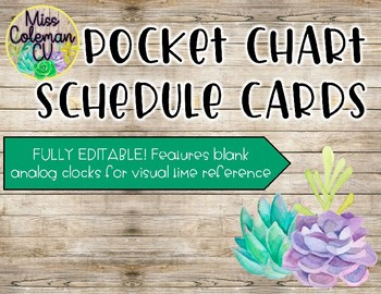 Editable Pocket Chart Schedule Cards with Clock-Shiplap