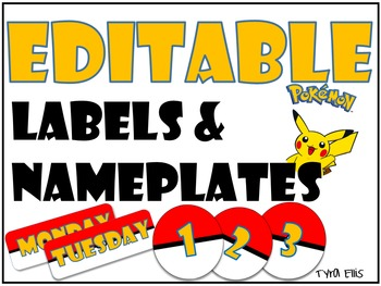 Editable Pokemon Labels and Name Plates
