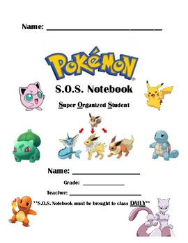 Editable Pokemon S.O.S. (Super Organized Student) Notebook Cover Page