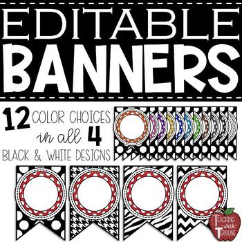 Editable Medium Banners {Multiple Colors}