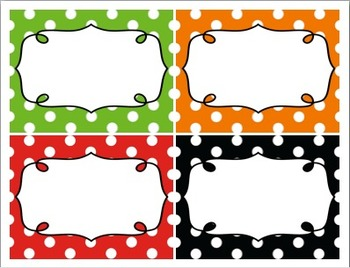 Editable Polka Dot Blank Multipurpose Tags Classroom Labels (5x4)