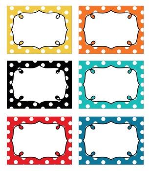 editable polka dot blank multipurpose tags classroom labels 9 bright colors. Black Bedroom Furniture Sets. Home Design Ideas