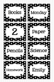 Editable Polka Dot Blank Multipurpose Tags Classroom Labels Black (5x4)