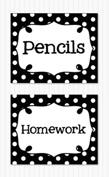 Editable Polka Dot Blank Multipurpose Tags Classroom Labels Black (5x4)