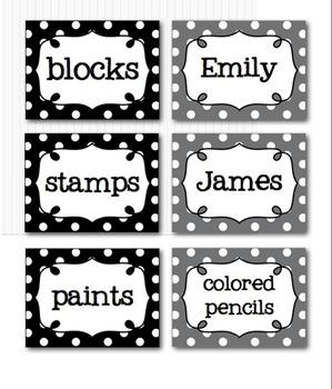 Editable Polka Dot Blank Multipurpose Tags Labels (Aqua Red Grey Black)