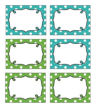 Editable Polka Dot Blank Multipurpose Tags Labels (Blue & Green)