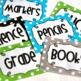Editable Polka Dot Blank Multipurpose Tags Labels (Blue Green Grey Black)