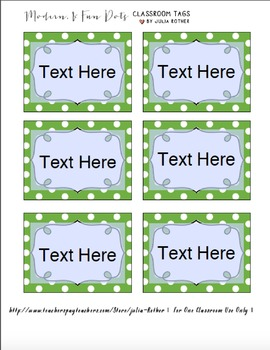 Editable Polka Dot Blank Multipurpose Tags Labels (Green White Dot)