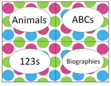 Editable Polka Dot Book Bin Labels