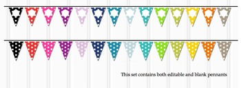 Editable Polka Dot Bunting Welcome, ABC, 123, Banner 14 Bright Colors