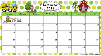 Editable Polka Dot Calendar August 2016 – July 2017