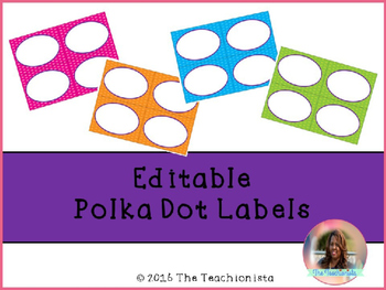 Editable Polka Dot Labels