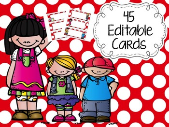 Editable Polka Dot Labels 45 designs (red edition)