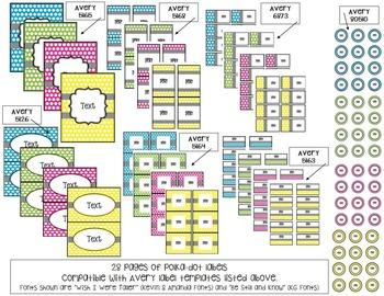 Editable Polka Dot Labels -: 7 Designs / 4 Color