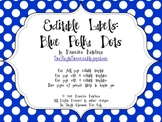 Editable Polka Dot Labels: Blue
