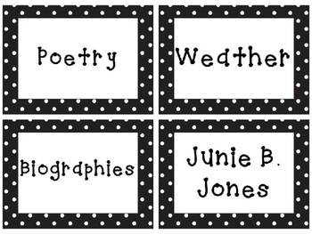 Editable Polka Dot Library Labels
