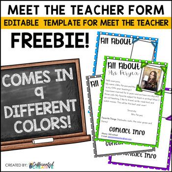 Meet The Teacher Editable Form