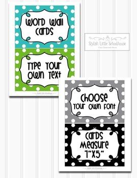 Editable Polka Dot Multipurpose Word Wall Cards 7x5 (Blue Green Grey Black)