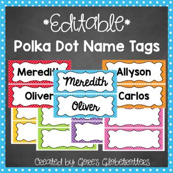 Editable Polka Dot Name Tags