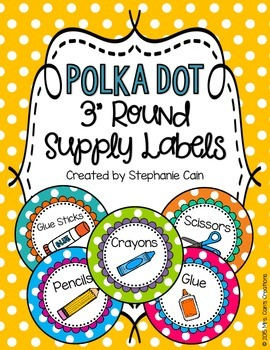 Editable Polka Dot Round Supply Labels