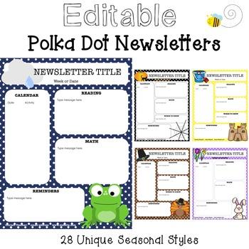 {Editable} Polka Dot Newsletters