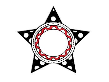Editable Polka Dot Stars