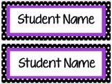 Editable Polka Dot Student Name Tags