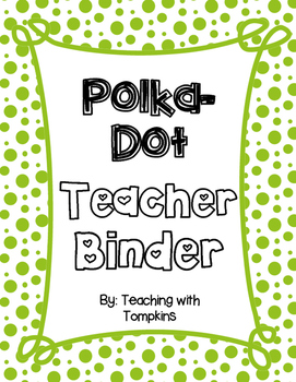 Editable Polka-Dot Teacher Binder in Blue & Green