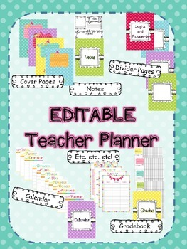 Editable Polka Dot Teacher Planner