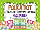 Editable Polka Dot Teacher Toolbox Labels