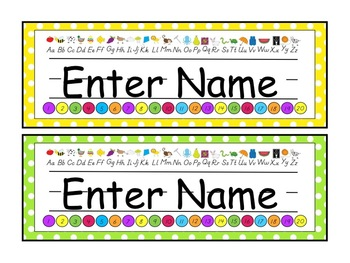 Editable Polka Dot Theme Name Plates