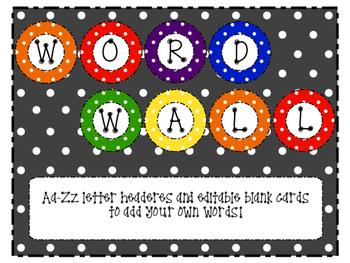 Editable Polka Dot Word Wall