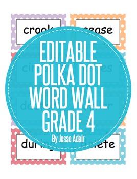 Editable Polka Dot Word Wall For Grade 4
