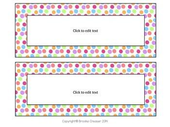 Editable Polka Dot cards/tags