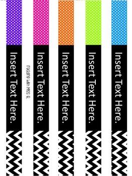 Editable Polka Dots & Chevron Binder Covers