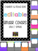 Editable Polka Dots & Chevron Binder Covers