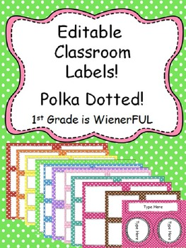 Editable Polka Dotted Labels~3 sizes per color + long rectangle and circles!
