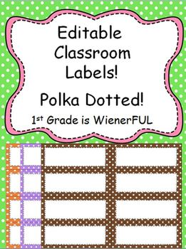 FREEBIE!!!!  Small Editable Polka Dotted Labels~all colors!