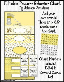 Editable Popcorn Behavior Chart