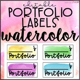 Editable Portfolio Labels Watercolor FREEBIE