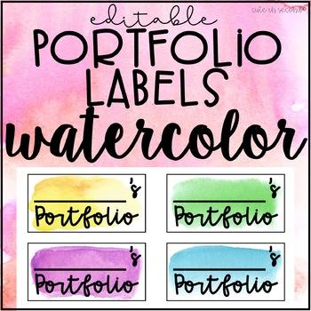 Editable Portfolio Labels Watercolor FREEBIE
