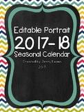 Editable Portrait 2017-18 Seasonal Calendar