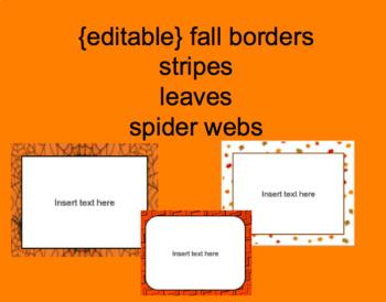 Editable Portrait Fall Borders