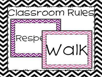 Editable Positive Classroom Rules with Chevron Theme