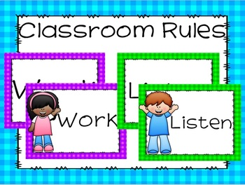 Editable Positive Classroom Rules with Gingham Theme