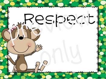 Editable Positive Classroom Rules with Monkey Theme