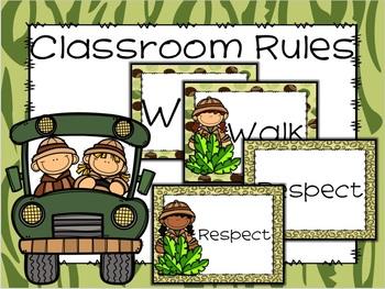 Editable Positive Classroom Rules with Safari Theme