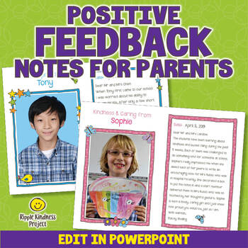 Editable Positive Feedback Notes for Parents - US Letter