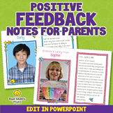 Editable Teacher Feedback Slips | Positive Letters to Parents