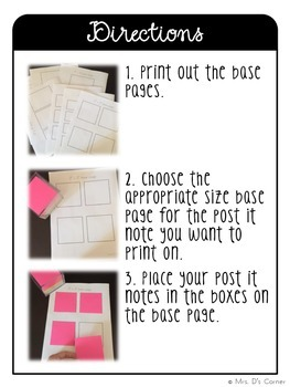 Editable Post It Note Template - 7 sizes { Melonheadz Theme }